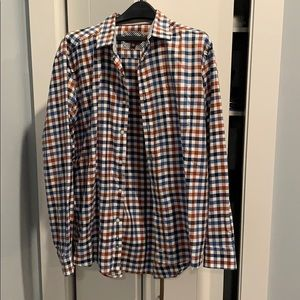 Johnston and Murphy plaid button down LS, 2XL